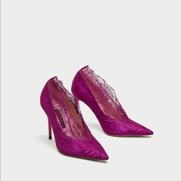 Plum High Heel Lace Court Shoes Nwt